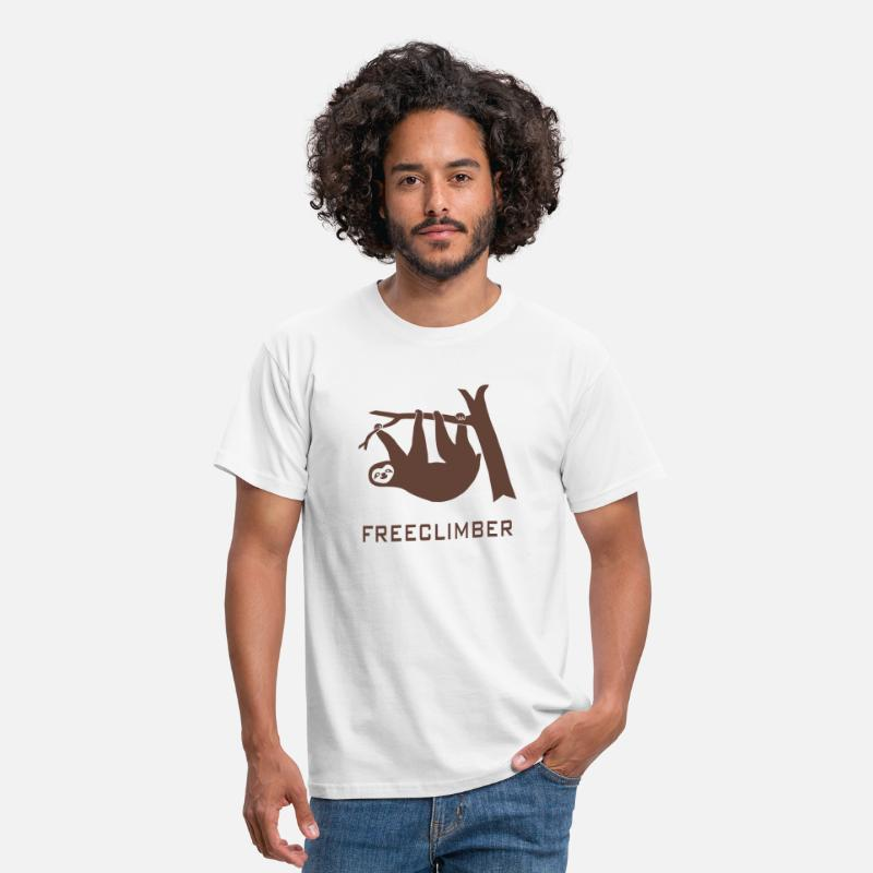 Bouldering T-Shirts - freeclimber climbing freeclimbing boulder rock mountain mountains hiking rocks sloth climber - Men's T-Shirt white