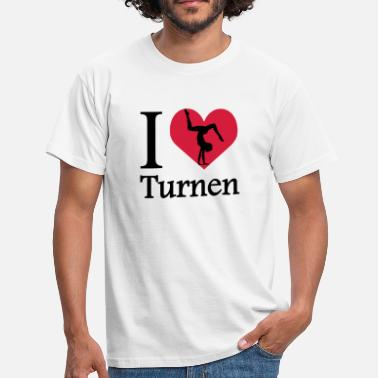 I Love Turnen Ik hou van turnen / I Heart Gymnastiek - Mannen T-shirt
