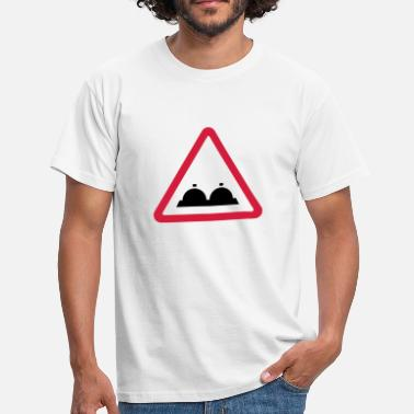 Caution Attention: breasts - Men's T-Shirt