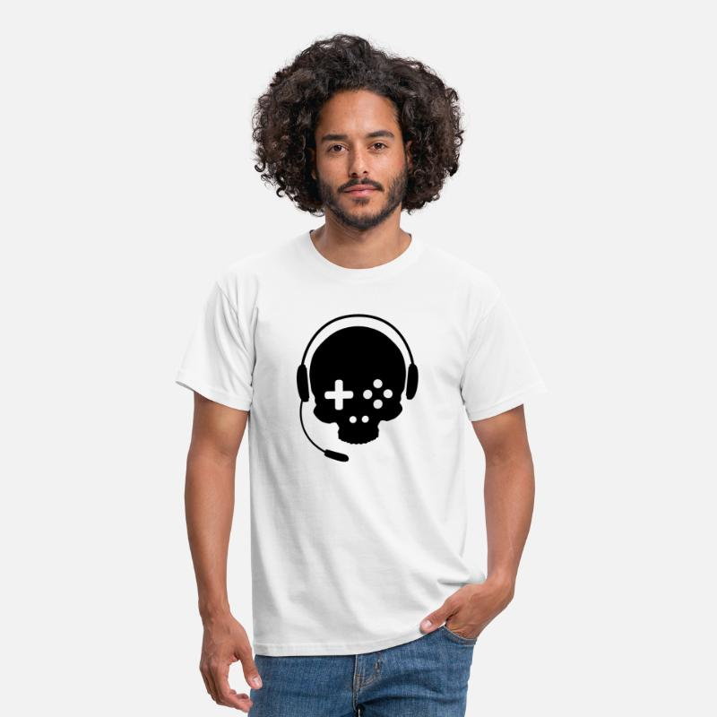 Computer T-Shirts - Game Controller Skull with Headset - Men's T-Shirt white