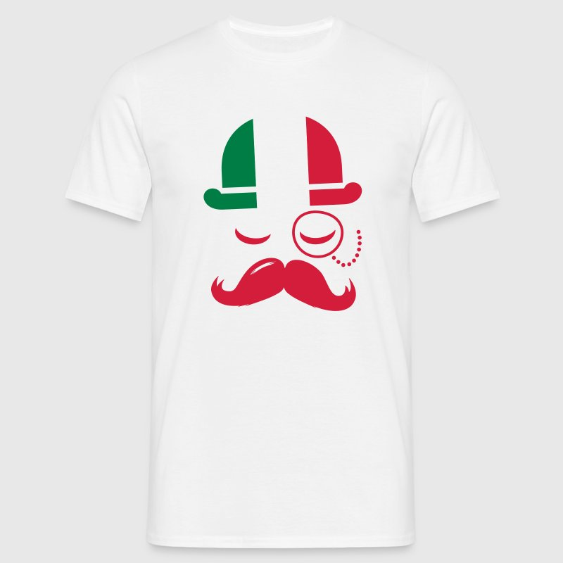 Italy nation fashionable retro iconic gentleman with flag and Moustache olympics sports football  - Men's T-Shirt