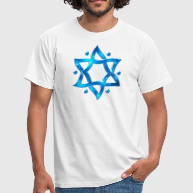 Symbole Judentum 6 Point Star, Merkaba, Star of David, Hexagram, Solomon - Männer T-Shirt