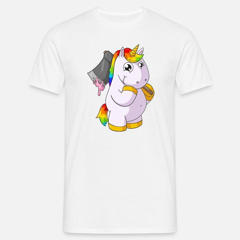 Unicorno di cartone animato con ascia maglietta uomo spreadshirt