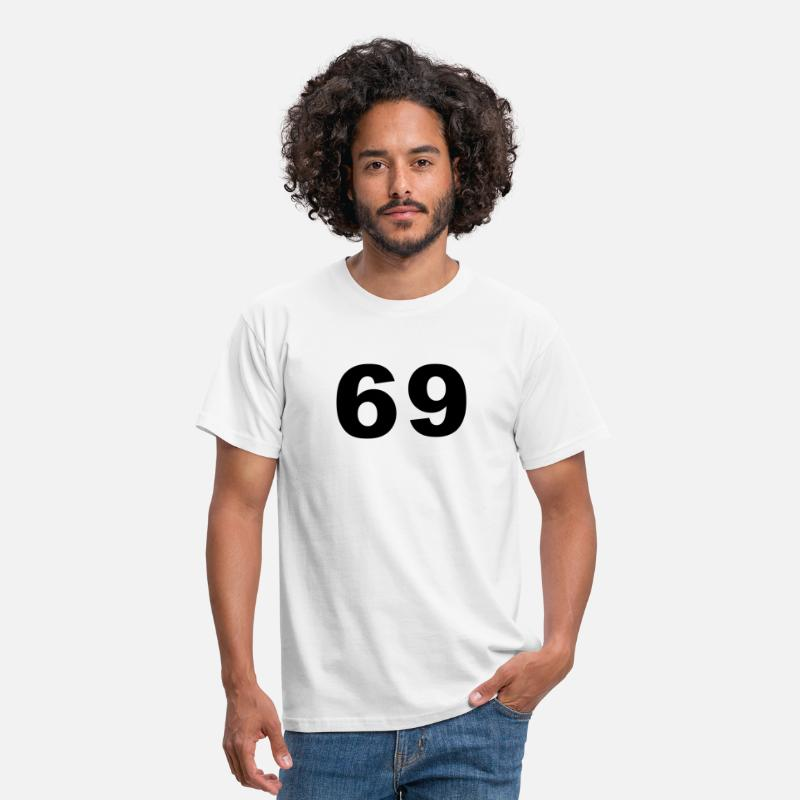 Number T-Shirts - Number - 69 - Men's T-Shirt white