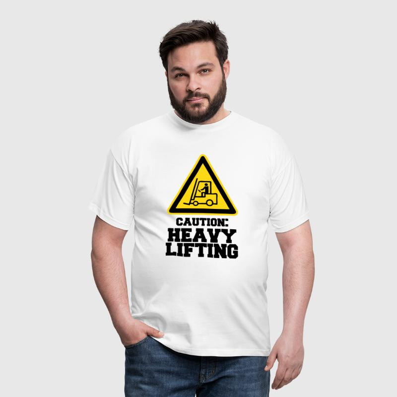 Caution Sign HEAVY LIFTING - Men's T-Shirt