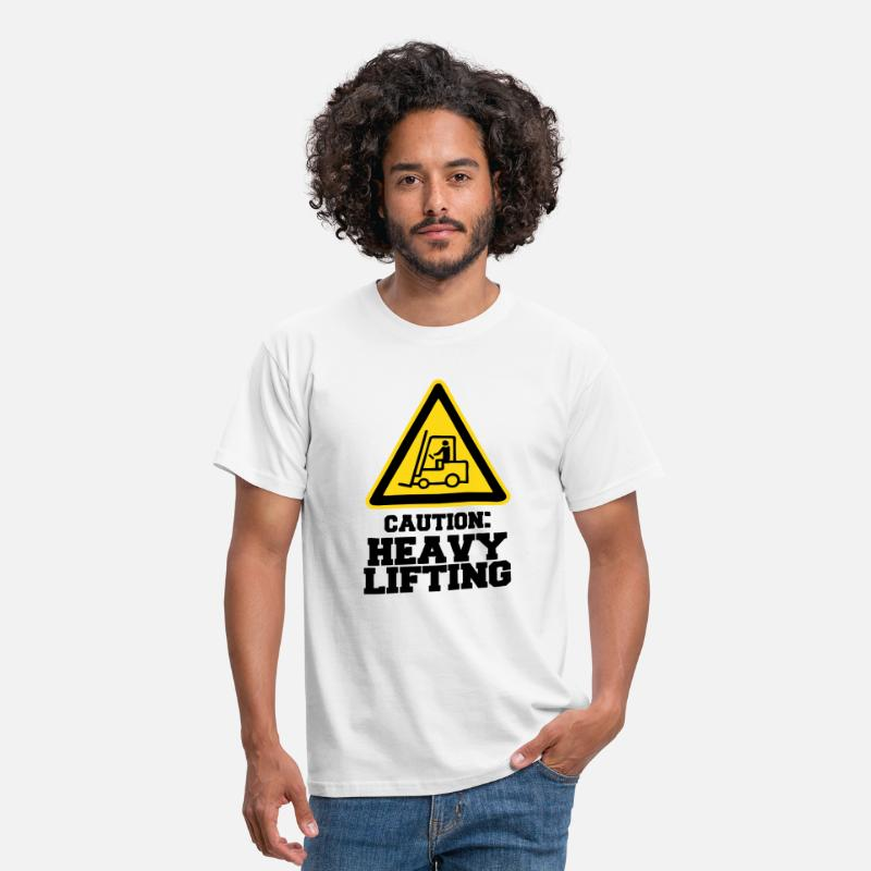 "Body Building T-Shirts - Caution Sign ""HEAVY LIFTING"" - Men's T-Shirt white"