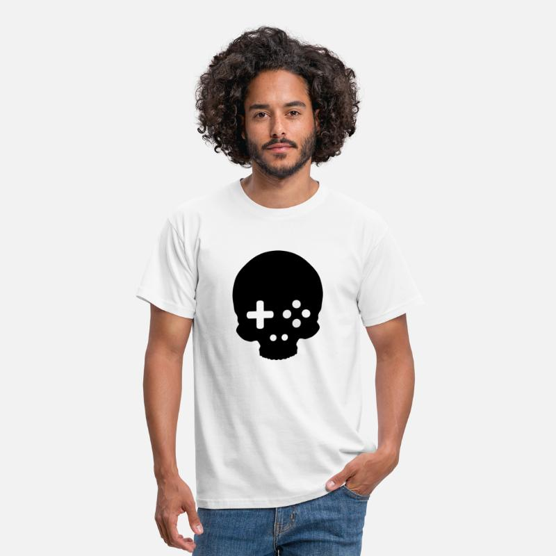 Computer T-Shirts - Game Controller Skull - Men's T-Shirt white