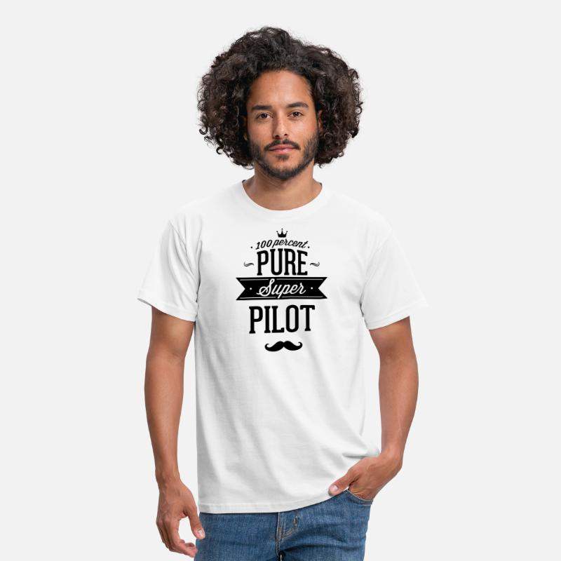 Aviation T-Shirts - 100% Super-Pilot - Men's T-Shirt white