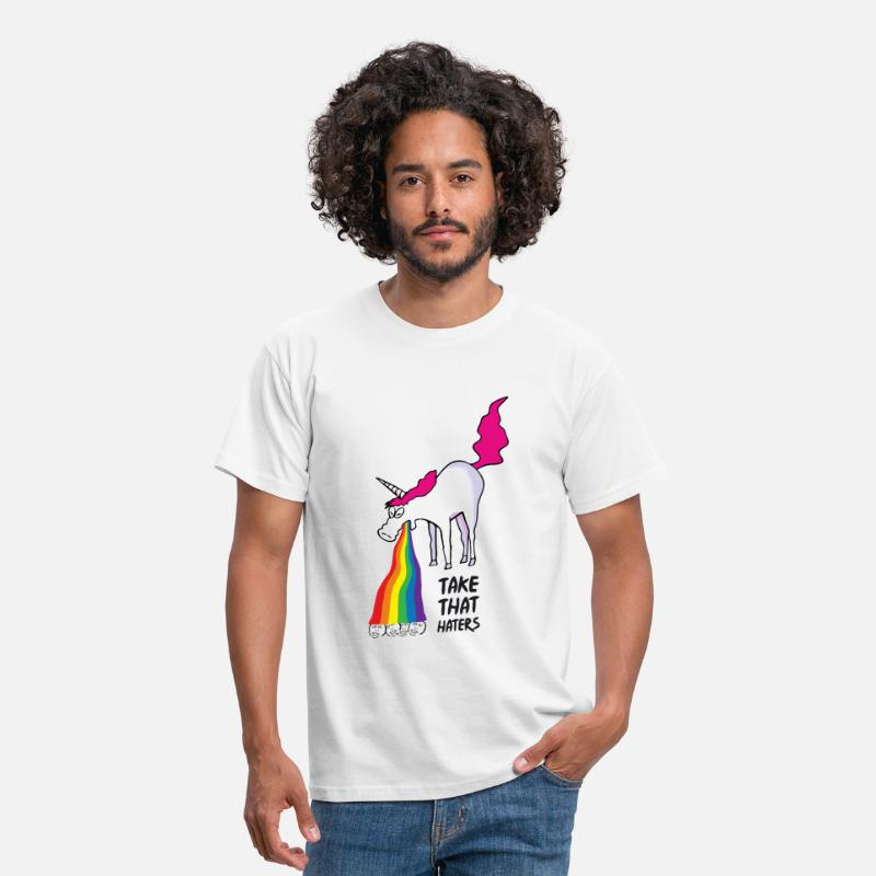 Funny T-Shirts - Unicorn vomiting rainbow - take that haters - Men's T-Shirt white