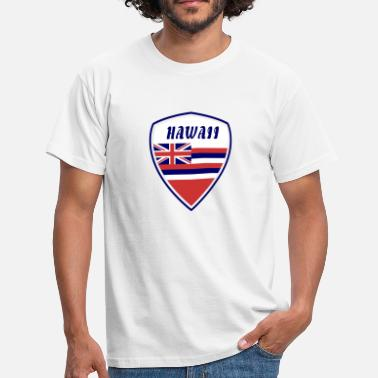 Pearl Harbour Hawaii écusson / cadeau drapeau de Honolulu surfant - T-shirt Homme