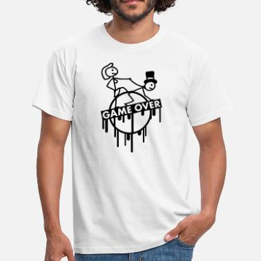 Bachelorette Party game_over_bachelor_graffiti_stamp - Men's T-Shirt