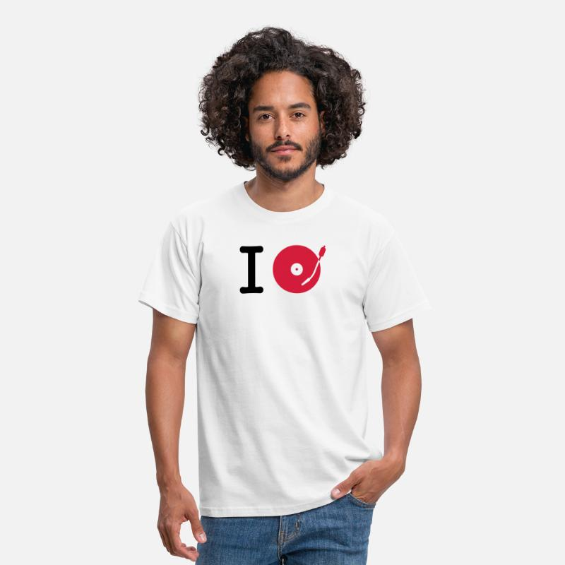 Pista Camisetas - I dj / play / listen to + your music - Camiseta hombre blanco