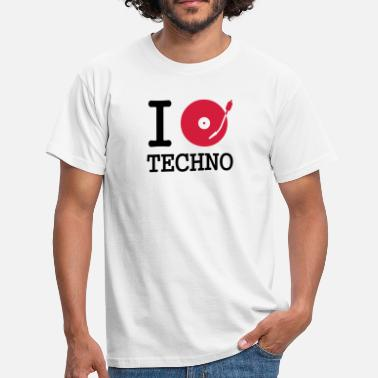 Stereo I dj / play / listen to techno - Men's T-Shirt