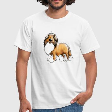 Collie Comic Happy Collie - Langhaarcollie - Männer T-Shirt