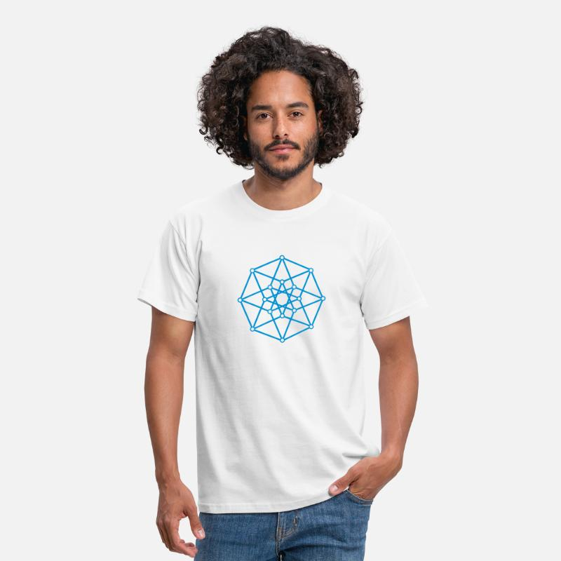 Conscience T-shirts - Hypercube 4D - TESSERACT - edge-first-shadow, c, Symbol - Dimensional Shift, Metatrons Cube, Ishtar Star - T-shirt Homme blanc