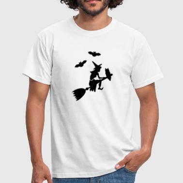 paardrijden heks een bezem / witch on her broomstick (1c) - Mannen T-shirt