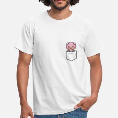 Black Pig Pig in breast pocket black - Men's T-Shirt