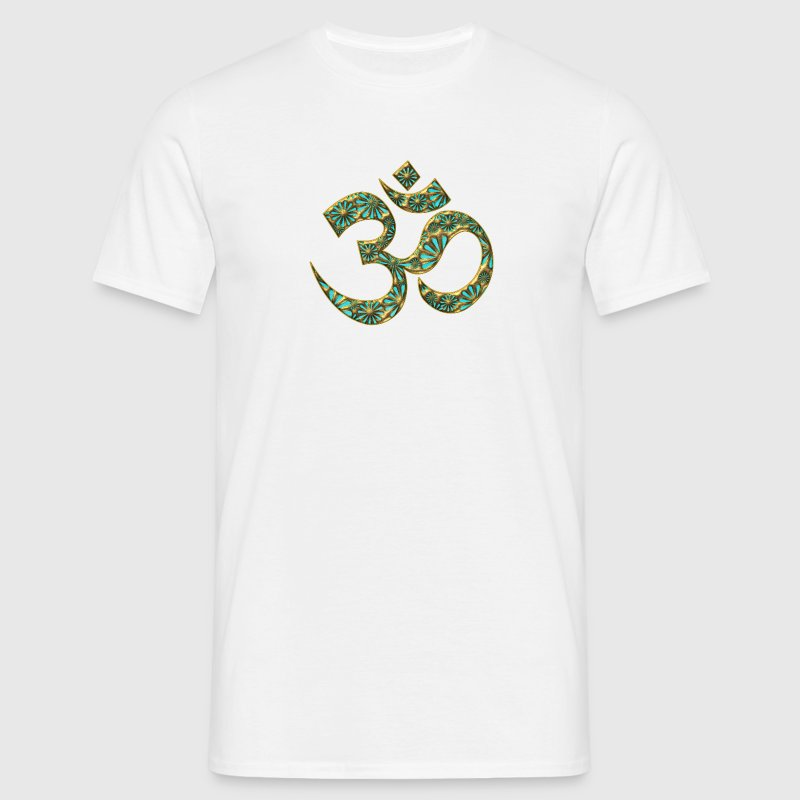 OM (AUM - I AM) - Sacred Symbol, turquoise, manifestation of spiritual strength, The energy symbol gives balance, peace and bliss - Men's T-Shirt