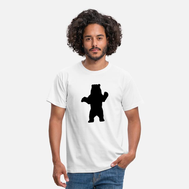 Bear Silhouette T-Shirts - Standing Bear, Grizzly Bear Silhouette - Men's T-Shirt white