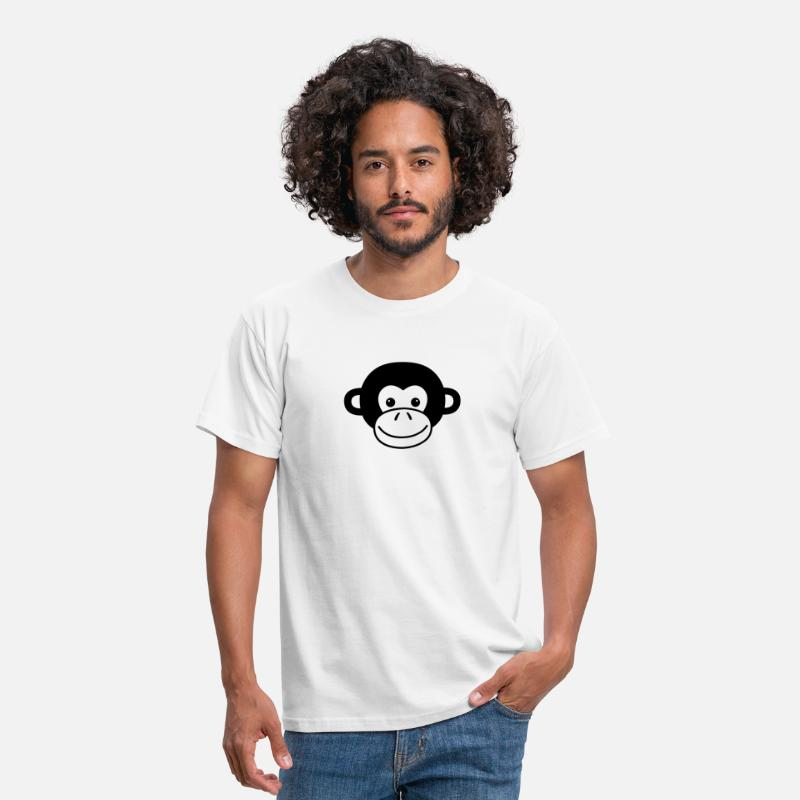 Animal T-Shirts - Monkey Face - Men's T-Shirt white