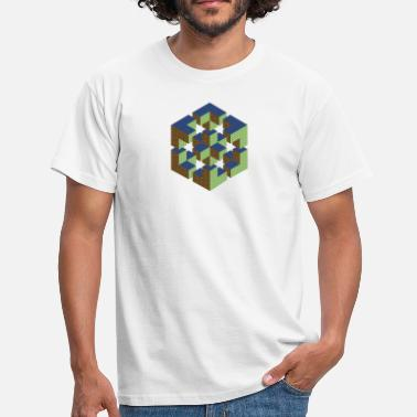Escher impossible figure Escher cube geometry fantasy - Men's T-Shirt