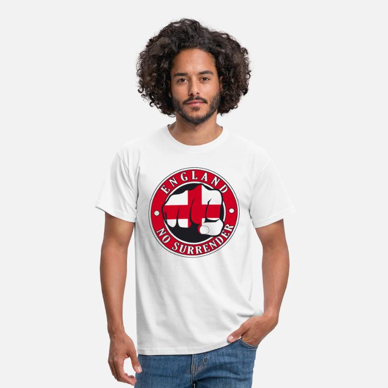 "Cross T-Shirts - England ""No Surrender"" Fist - Men's T-Shirt white"