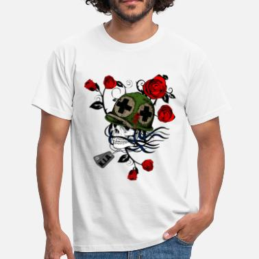 Famas Military Skull with Roses - Men's T-Shirt