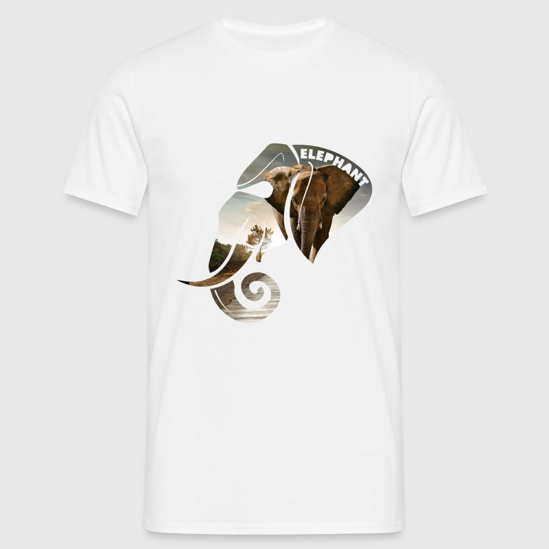 Elephant Safari Scene Head - Men's T-Shirt