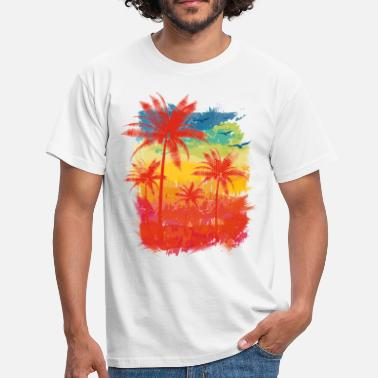 Summer Colours Colourful Stripes (palms) - Men's T-Shirt