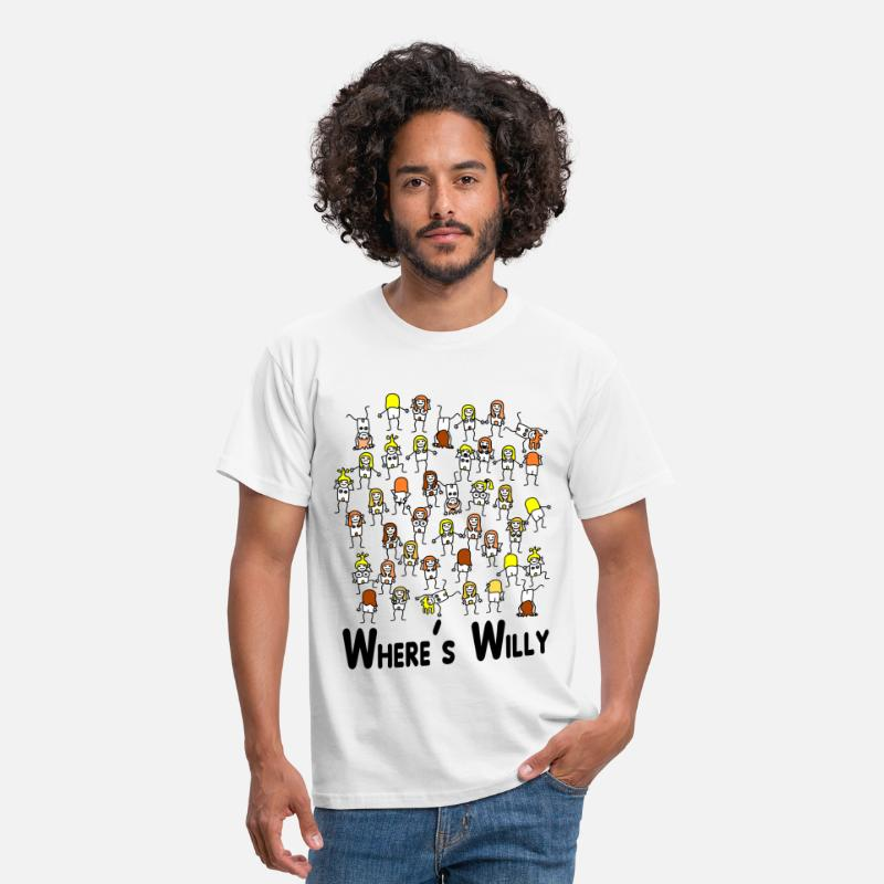 Funny T-Shirts - Where's willy - Men's T-Shirt white