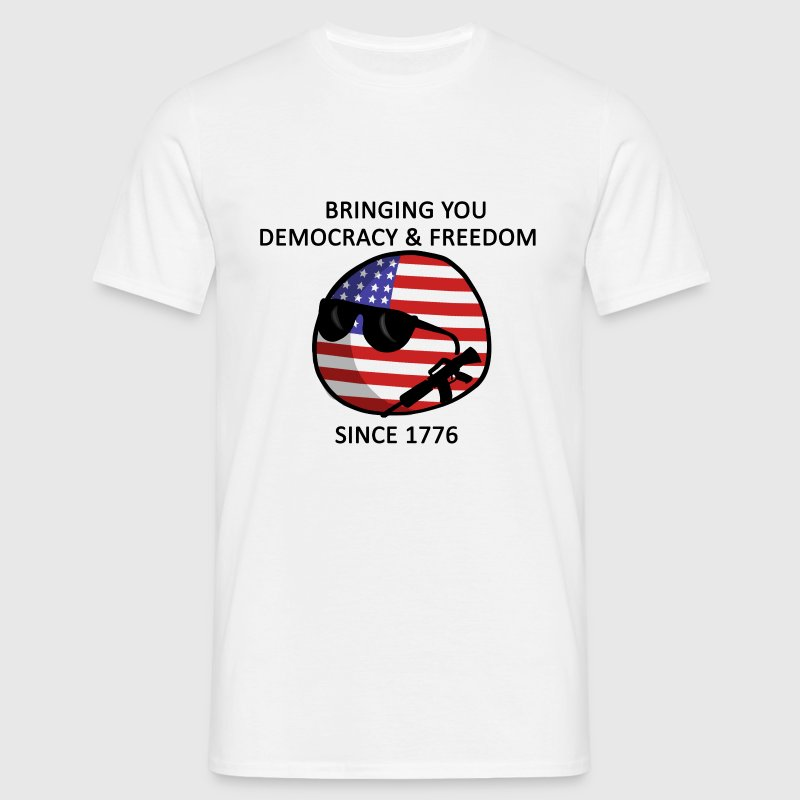 Democracy and Freedom from USAball - Black Text - Men's T-Shirt