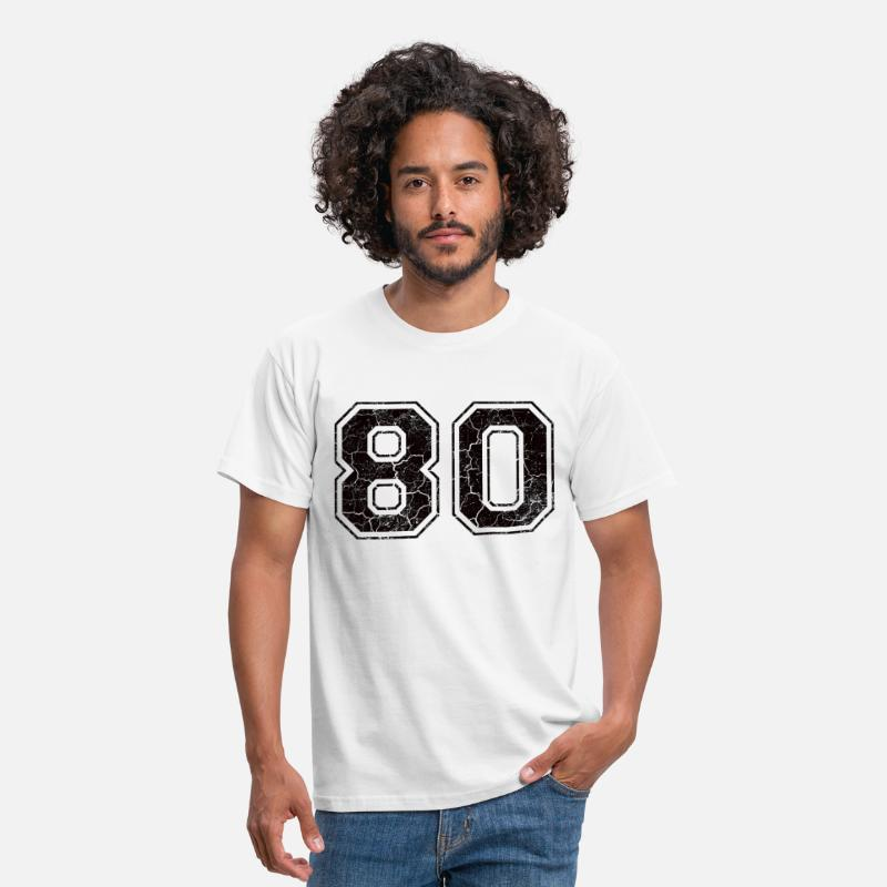 1980 T-Shirts - Number 80 in the grunge look - Men's T-Shirt white
