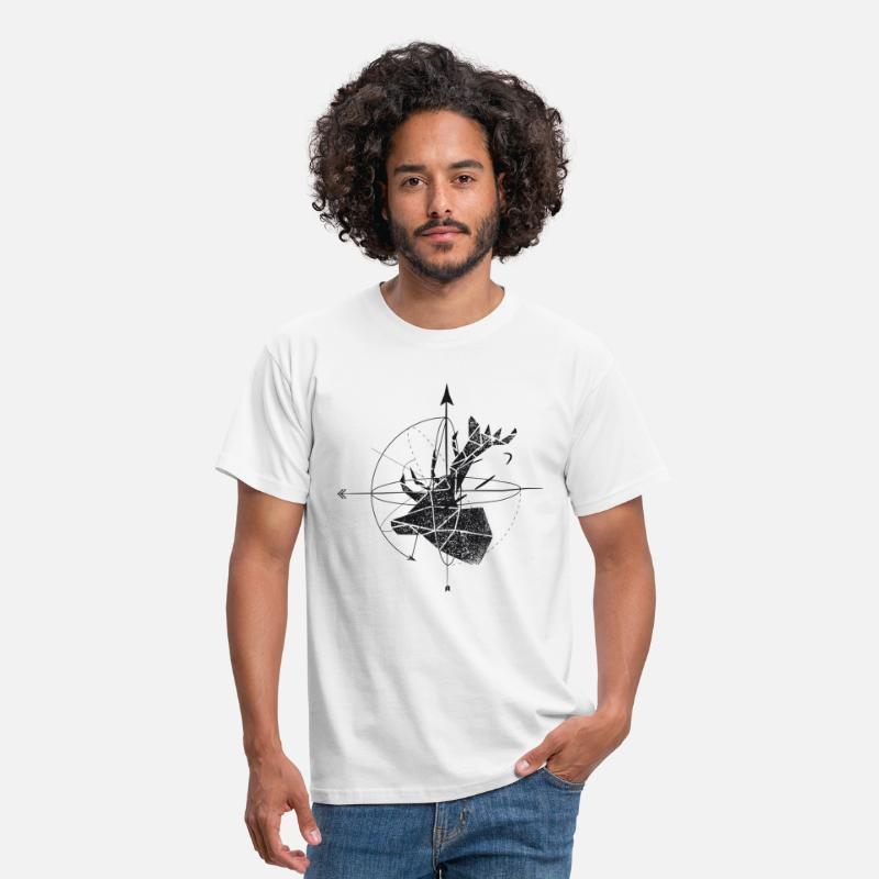 Black T-Shirts - Deer geometry - Men's T-Shirt white