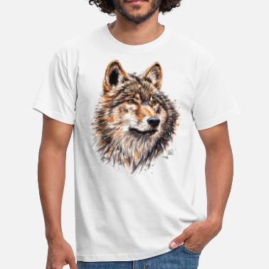 Watercolor Wolf Painting - Men's T-Shirt