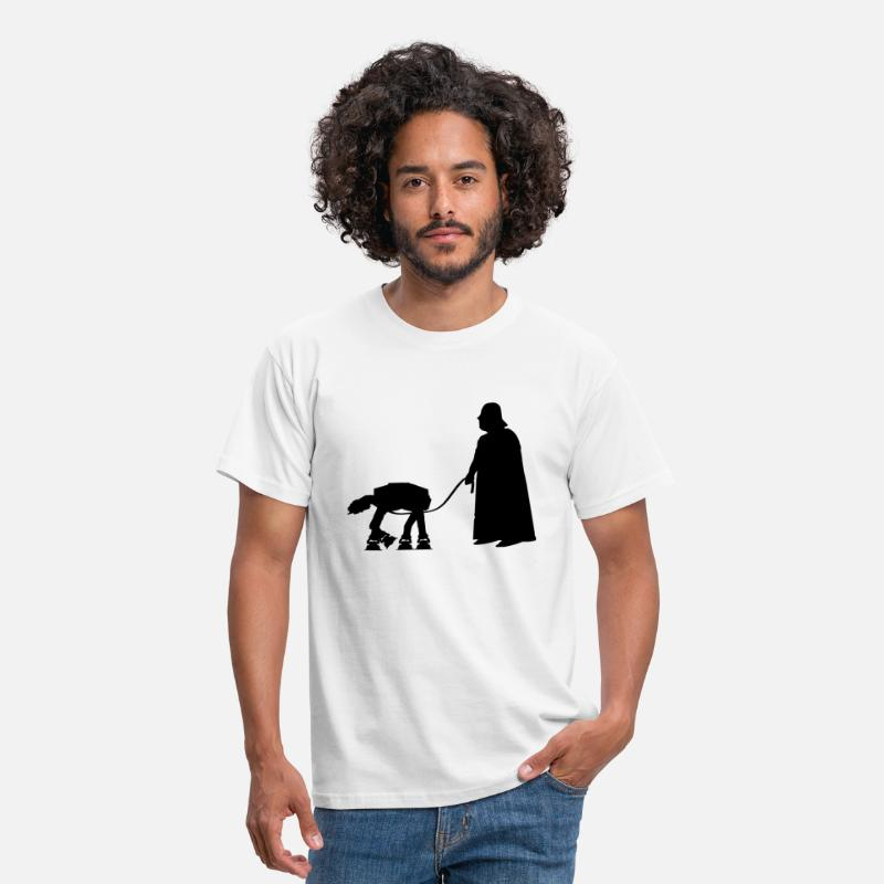 Darth T-Shirts - Darth Vader with pet AT-AT (Star Wars) - Men's T-Shirt white