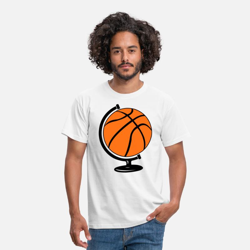 Nba T-Shirts - Basketbal wereldbol  - Mannen T-shirt wit