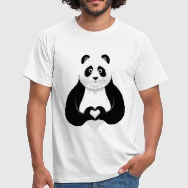 Cute Panda Heart Hand Sign - T-shirt herr