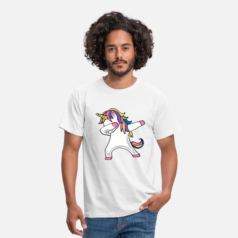 Unicorn T-Shirts - DABBING UNICORN - Men's T-Shirt white