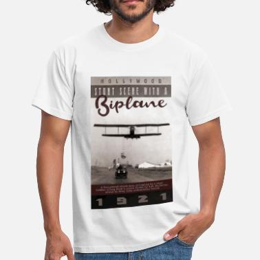 Hollywood 1921 Stunt Scene With a Biplane - Men's T-Shirt