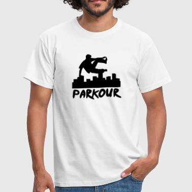 Free running in the city, parkour - T-skjorte for menn