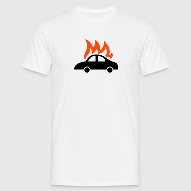 brennendes Auto - burning car - Männer T-Shirt