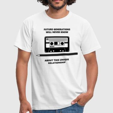 Audio Tape Stift Pencil Relationship - Mannen T-shirt