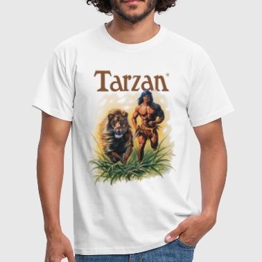 Tarzan running with a lion - Men's T-Shirt