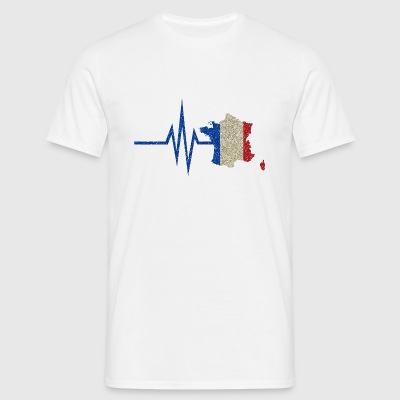 My heart beats for France - national colors - Men's T-Shirt