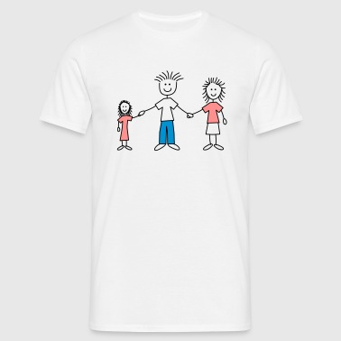 family_dad_and_mom_with_girl_3c - Men's T-Shirt