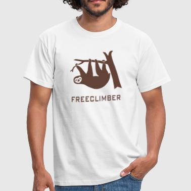 freeclimber climbing freeclimbing boulder rock mountain mountains hiking rocks sloth climber - Men's T-Shirt