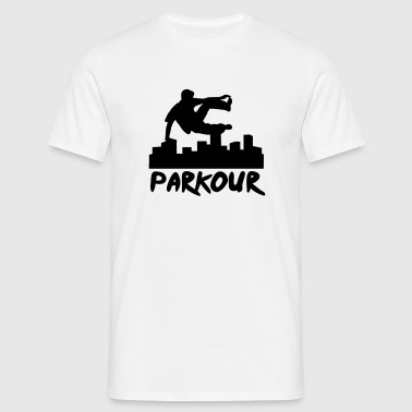 Free running in the city, parkour - Mannen T-shirt