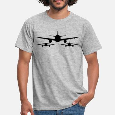 Aviation 3 aviator team crew squadrons front front airplane - Men's T-Shirt