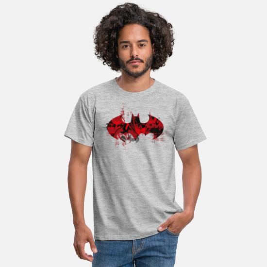 Batman T-shirts - Batman Logo Red - Mannen T-shirt grijs gemêleerd