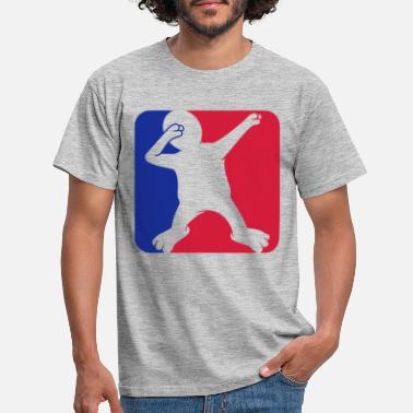 Red red blue button dabbing sport shield silhouette ta - Men's T-Shirt